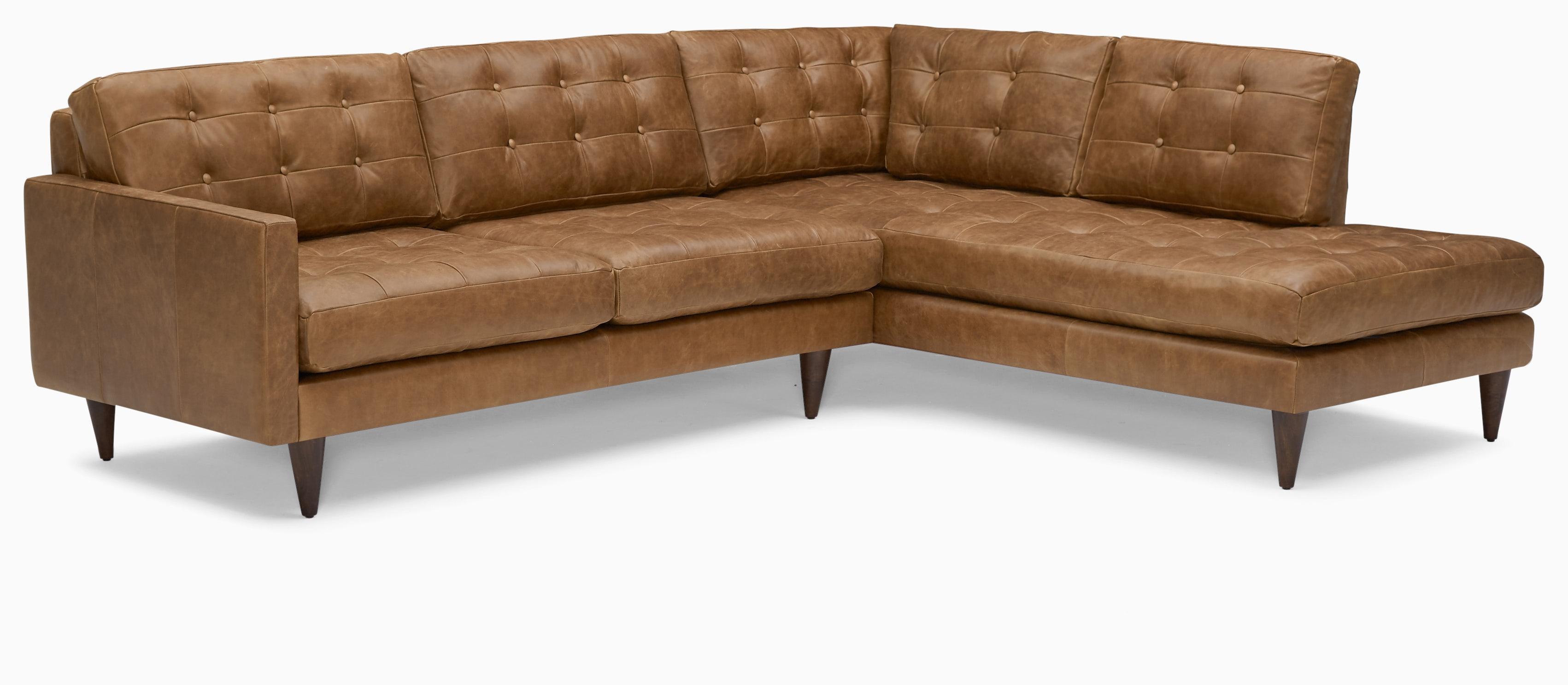eliot leather sectional with bumper %282 piece%29 santiago ale