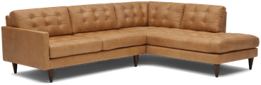 eliot leather sectional with bumper %282 piece%29 santiago camel