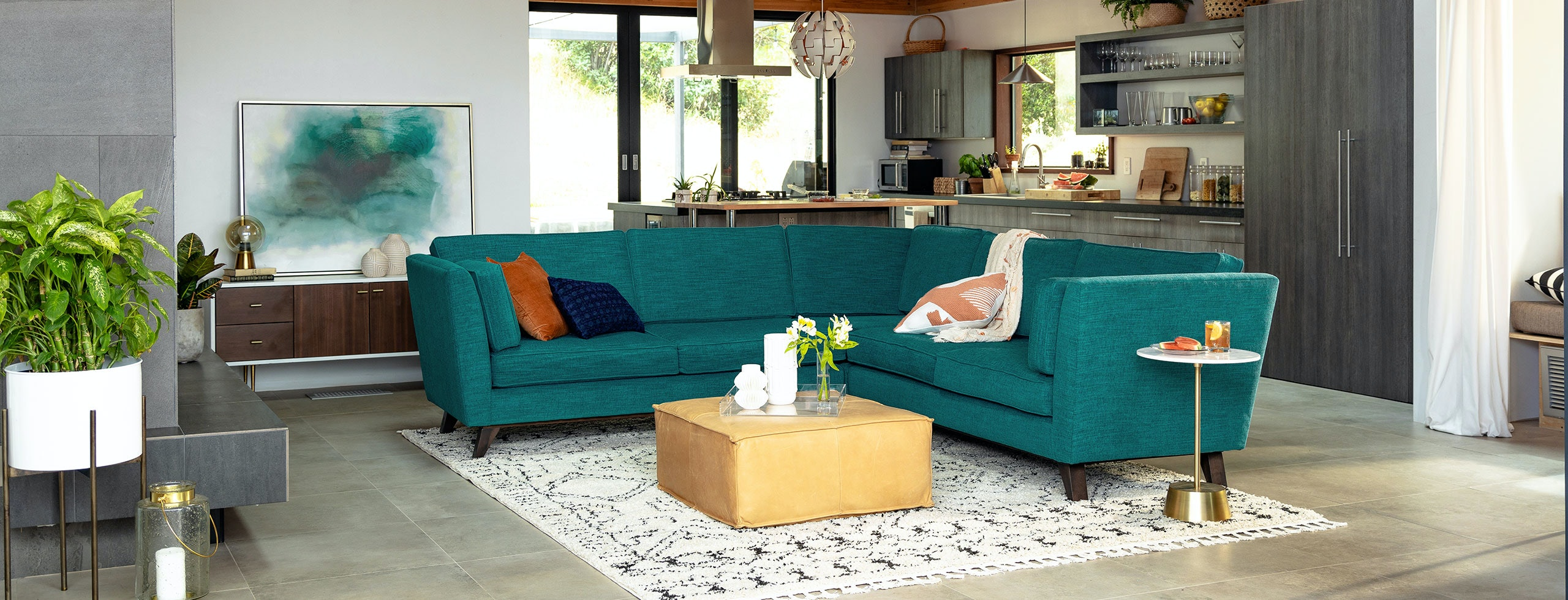 Roller Corner Sectional Lucky Turquoise