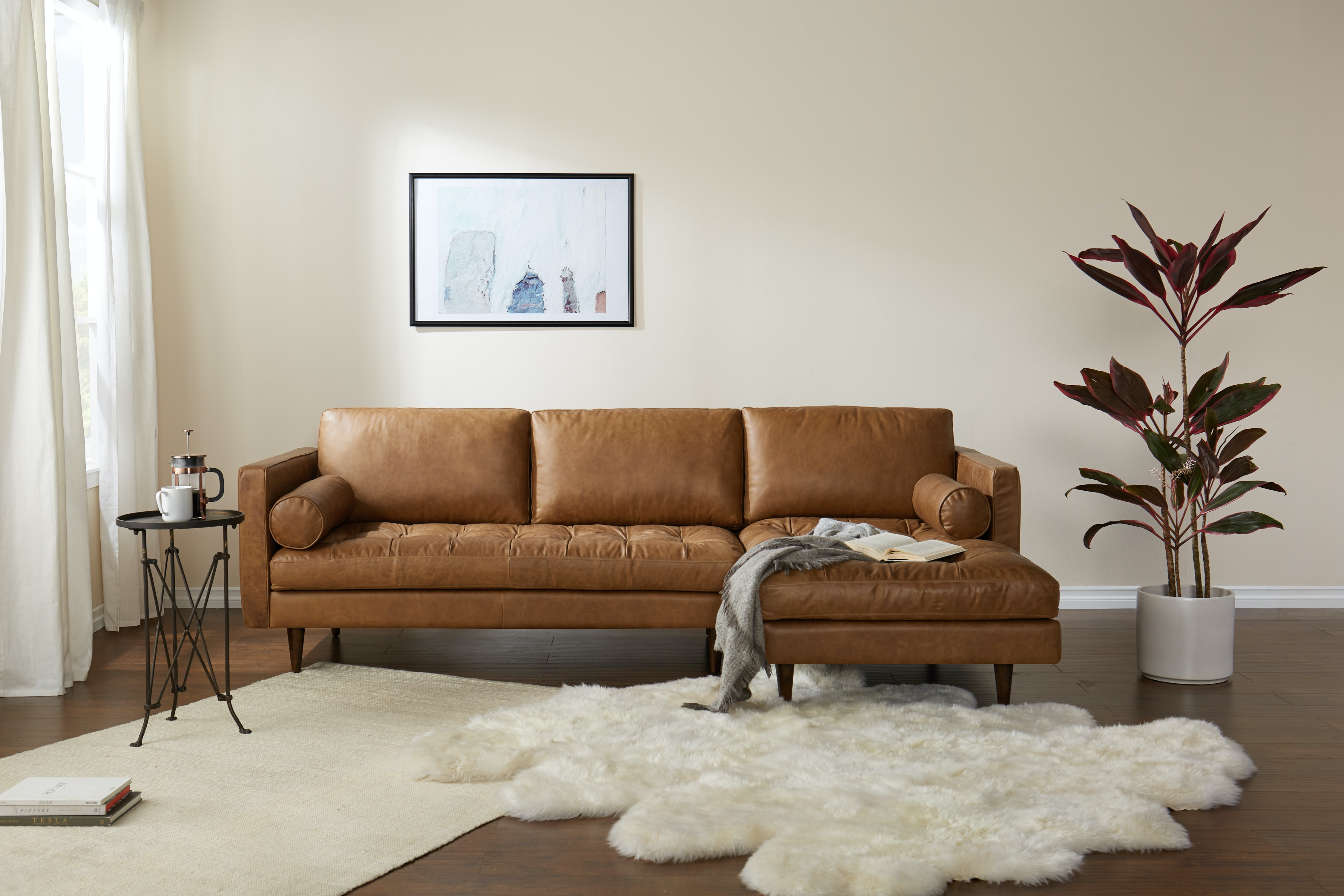 Briar Leather Sectional Santiago Ale