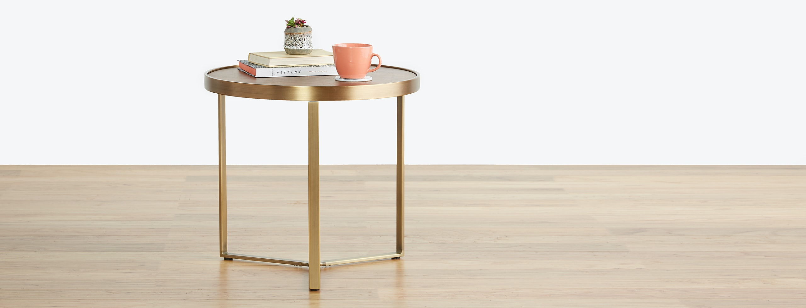 Mindy End Table Walnut Yellow Copper